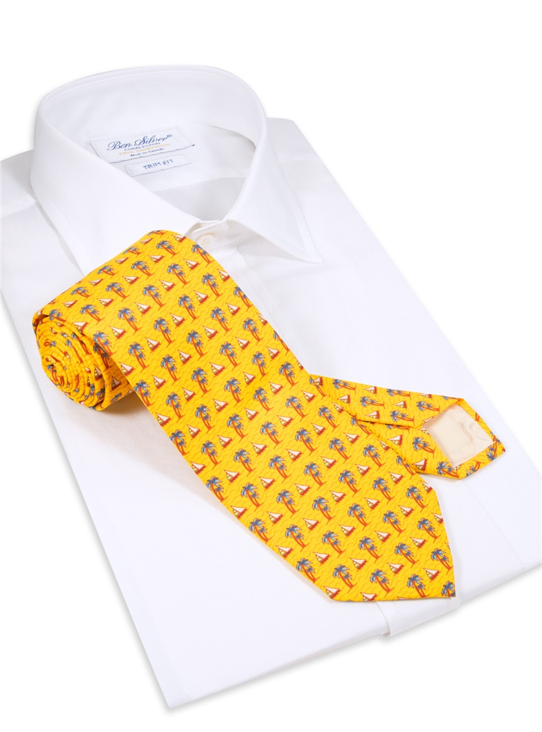 Palm Tree and Sailboat Printed Tie in Marigold