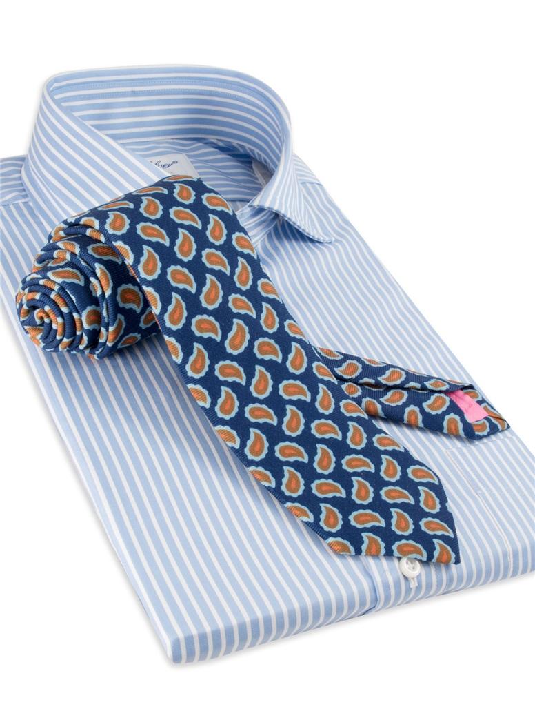 Wool Print Paisley Tie in Marine
