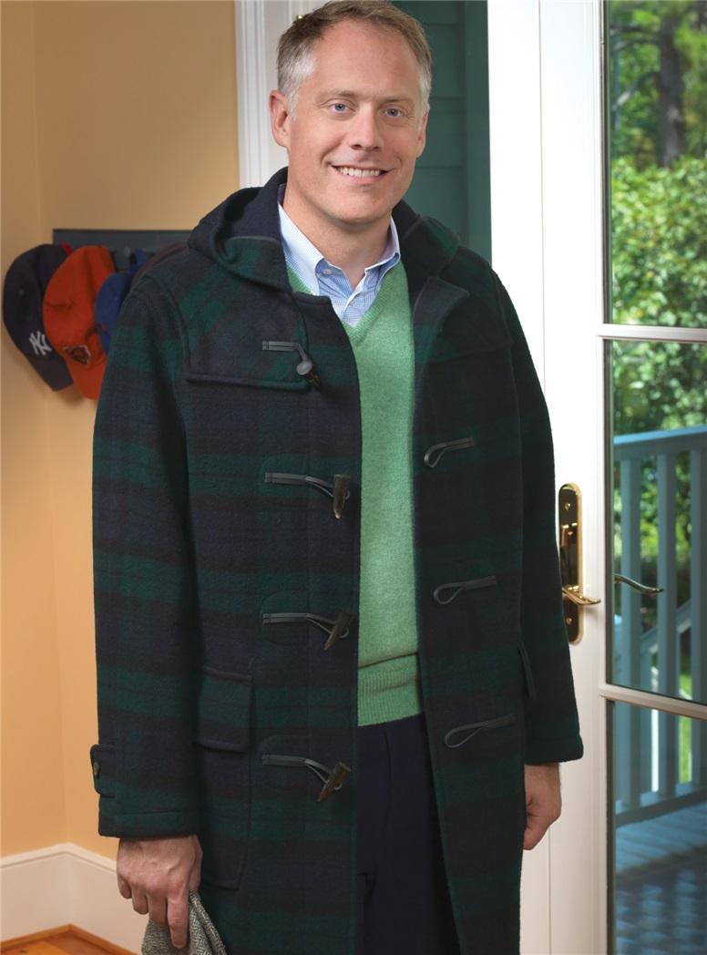Classic Wool Duffle Coat in Black Watch Tartan