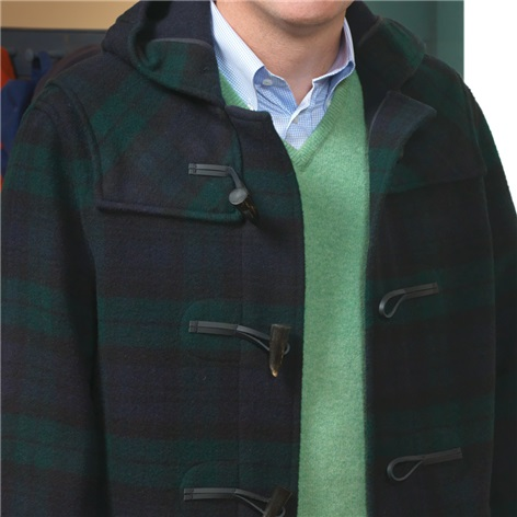Classic Wool Duffle Coat in Black Watch Tartan