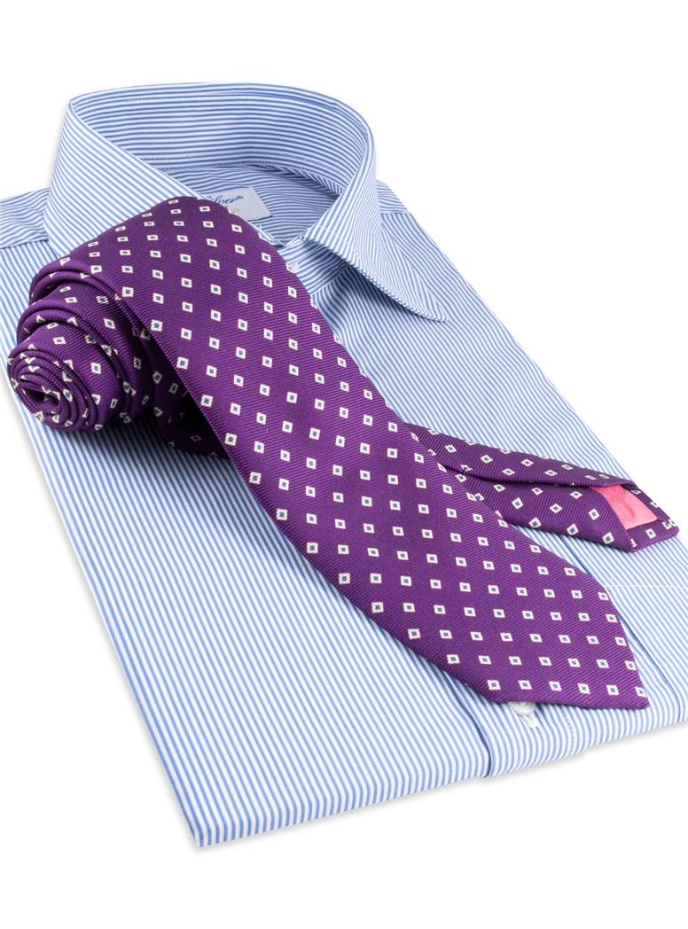 Diamond Printed Silk Tie in Violet