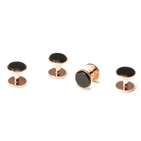 Rose Gold Black Onyx Stud Set