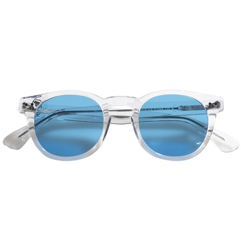 Semi-round Sunglasses in Clear with Blue Lenses