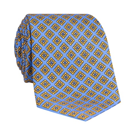 Silk Diamond Printed Tie in Sky