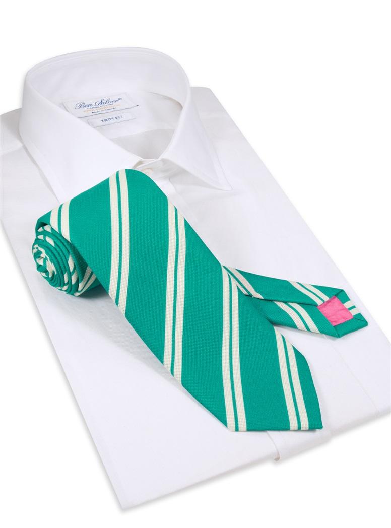 Silk Panama Weave Striped Tie in Teal