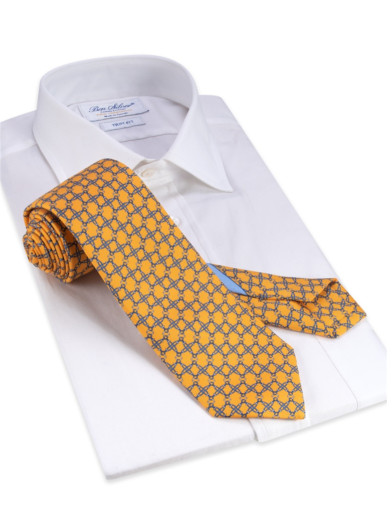 Silk Printed Tie in Yellow