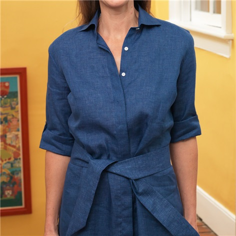 Ladies Linen Shirtdress in Navy