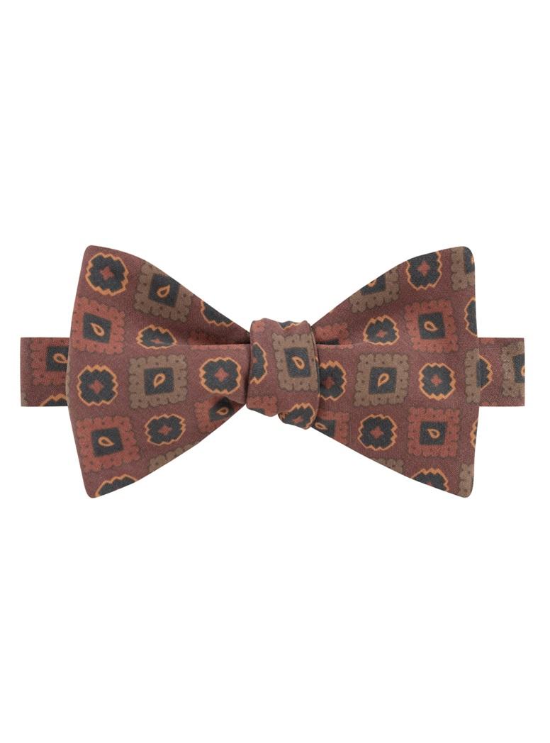 Silk Geometric Motif Bow Tie in Brick