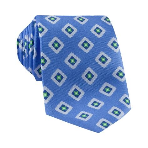 Silk Printed Tile Motif Tie in Cornflower