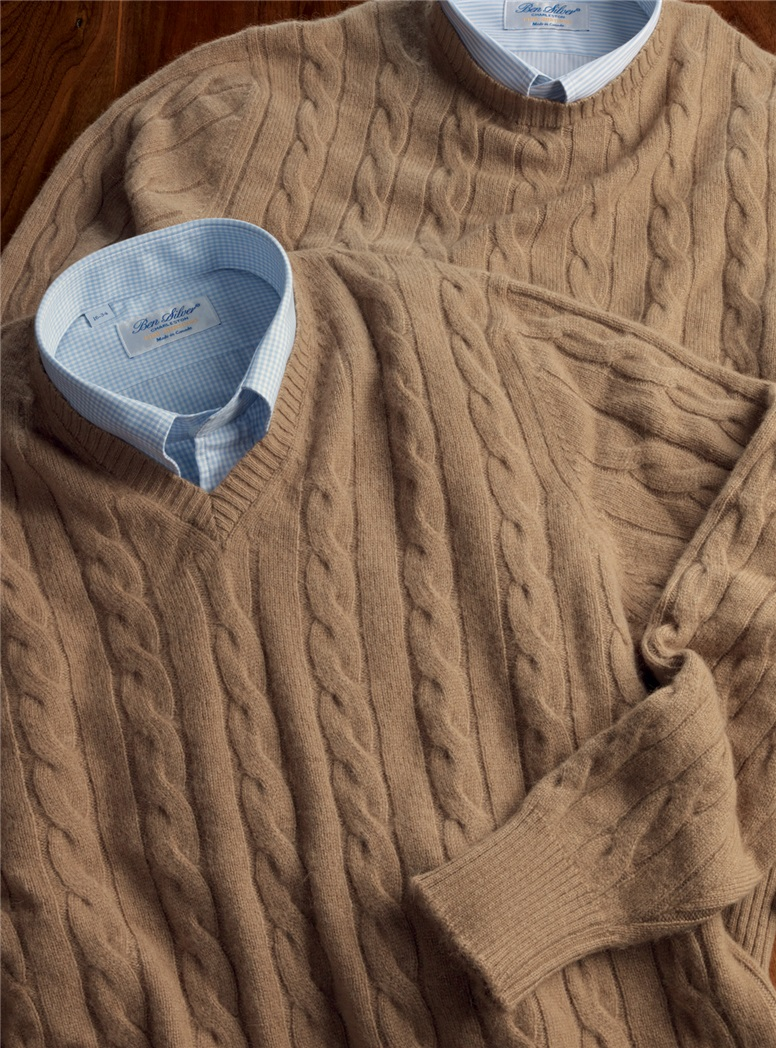 Camelhair Cable Knit V-neck Sweater