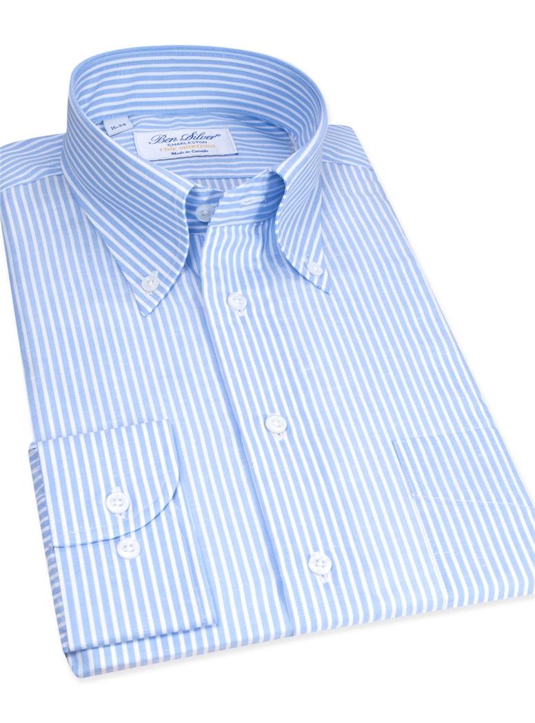 Cotton and Linen Blue and White Stripe Buttondown