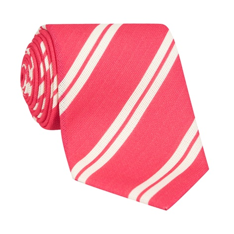 Silk Panama Weave Striped Tie in Strawberry