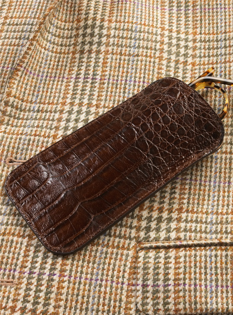 Crocodile Eyeglass Case in Chocolate