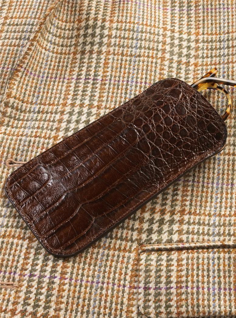 Crocodile Eyeglass Case in Chocolate