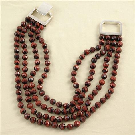 4 Strands Red Tiger Eye Necklace