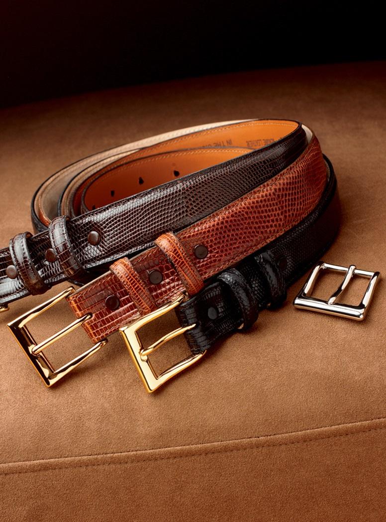 Java Lizard Belts With Interchangeable Buckles