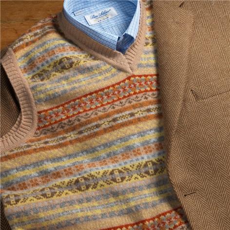 Lambswool Fair Isle Sweater Vest in Wheat