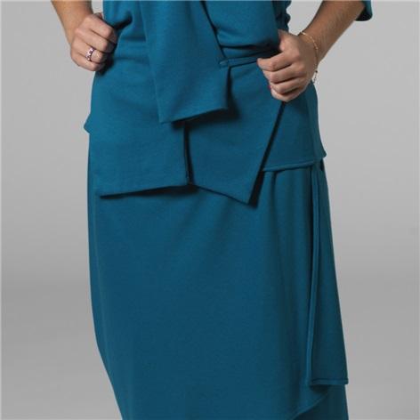 Marie Meunier Jersey Knit Apostrophe Skirt in Turqoise