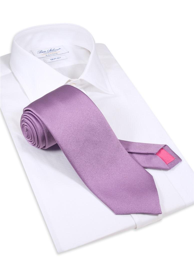 Silk Solid Signature Tie in Lavender