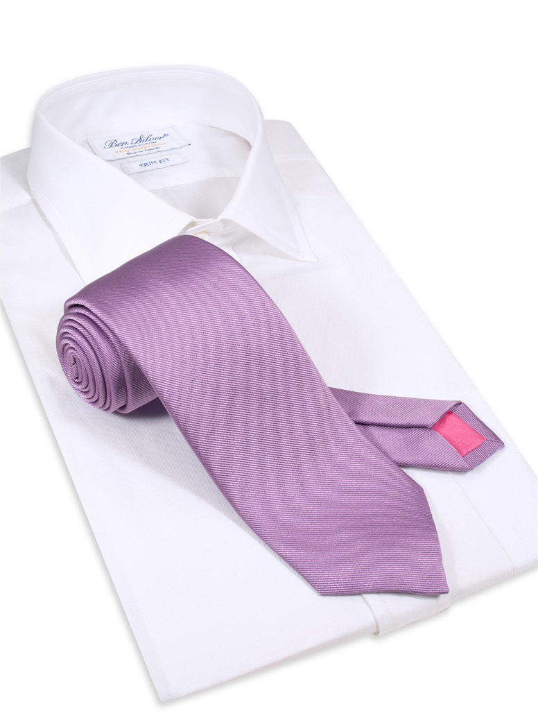 Silk Signature Solid Tie in Lavender