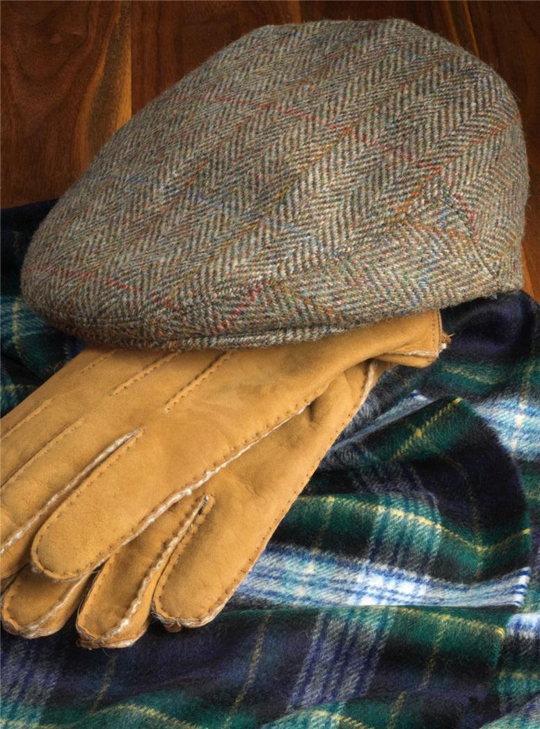 Wool Glen Cap in Chocolate and Wheat Herringbone