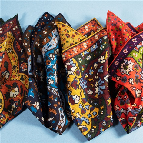 Silk Reversible Floral Printed Pocket Squares