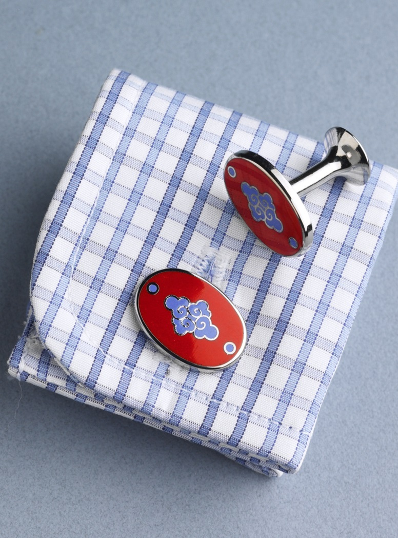 Red & Light Lapis Oriental Cufflinks
