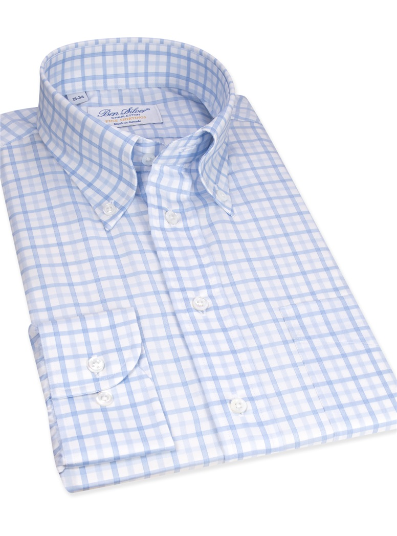 Blue and Light Blue Shadow Check Buttondown