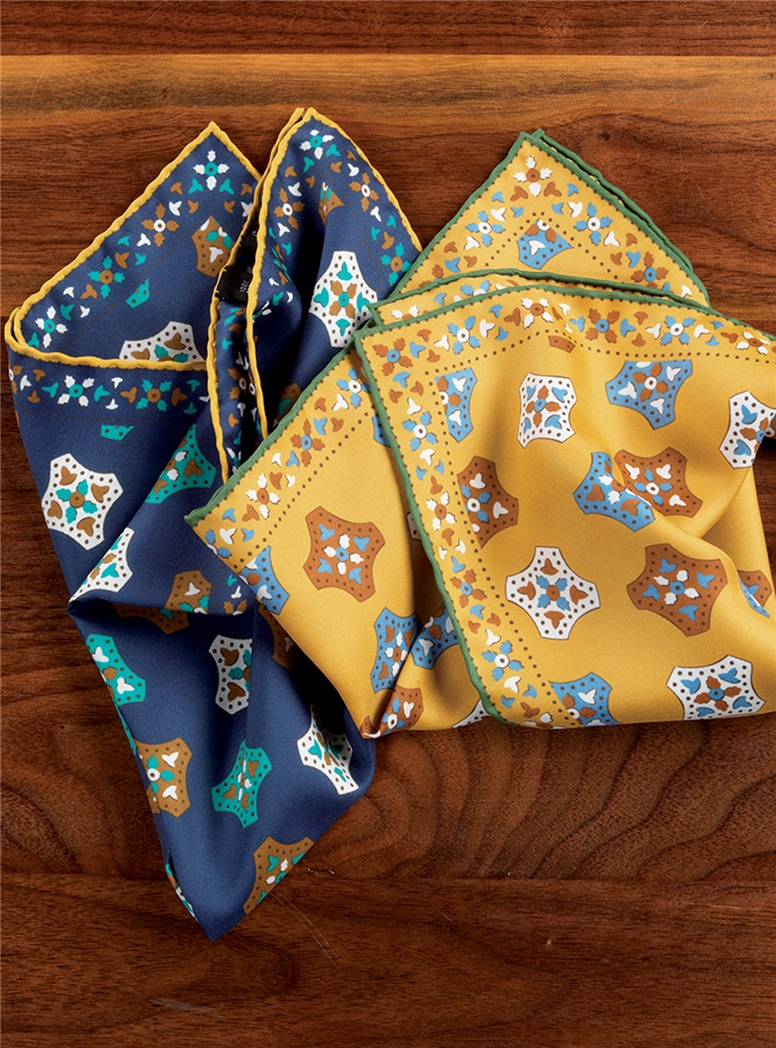 Silk Medallion Printed Pocket Squares