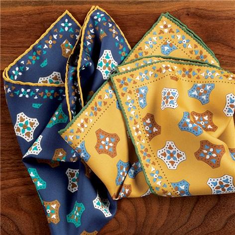 Silk Medallion Printed Pocket Squares