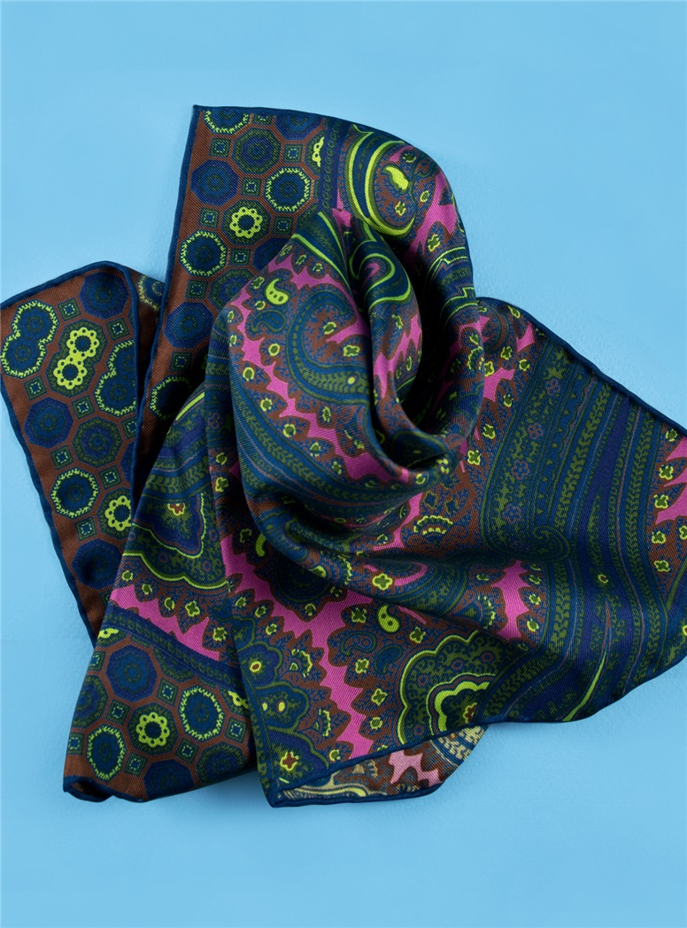 Silk Paisley Motif Pocket Square in Orchid