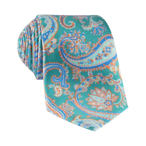 Silk Paisley Printed Tie in Teal