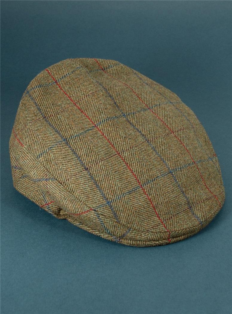 Wool Garforth Cap in Olive Herringbone with Windowpanes