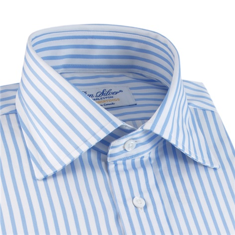 Light Blue & White Stripe Twill Spread Collar