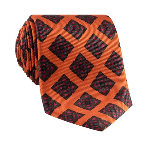 Silk Diamond Motif Tie in Copper