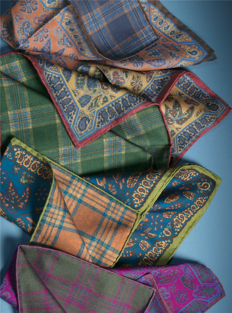 Silk Floral and Plaid Print Reversible Pocket Squares