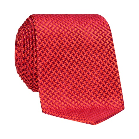 Silk Basketweave Tie in Ruby and Rust