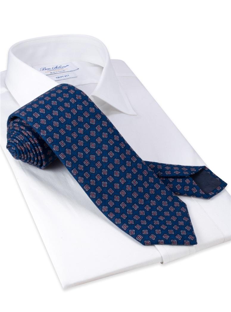 Wool Neat Printed Tie in Deep Blue