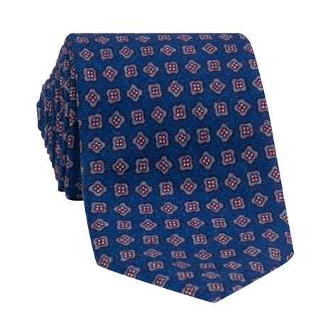 Wool Neat Printed Tie in Deep Blue
